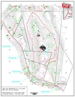 PDF siteplan of four lots with line adjustments