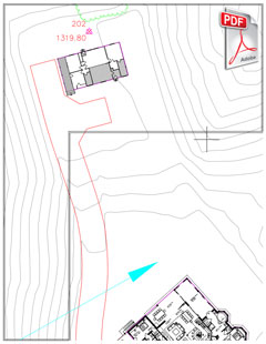 PDF siteplan with prefabricated house